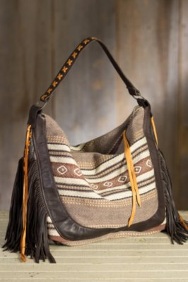 Poncho Cotton and Leather Tote Bag