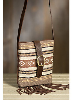Chimayo Cotton and Leather Crossbody Handbag