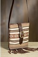 Chimayo Cotton and Leather Crossbody Handbag