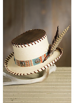 Firewater Straw Hat with Deerskin Leather Top