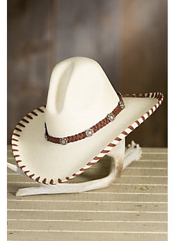 Gus Straw Hat with Braided Deerskin Leather Trim