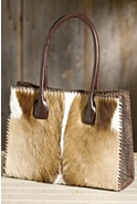 Women's Springbok Leather Handbag with Whipstitch Lacing