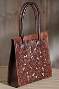 Women's Hand-Tooled Inlay Leather Tote Bag