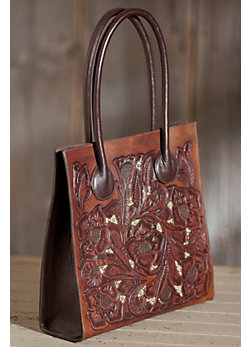 Hand-Tooled Inlay Leather Tote Bag