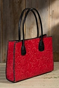 Women's Contrast Lacing Leather Tote Bag