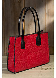 Contrast Lacing Leather Tote Bag