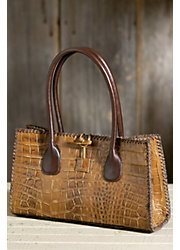 Women's Embossed Italian Leather Handbag