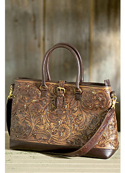 Hand-Tooled Leather Travel Bag