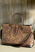 Women's Hand-Tooled Leather Travel Bag