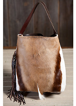 Women's Springbok Leather Tote Bag with Fringe