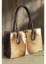 Women's Small Springbok Leather Handbag with Whipstitch Lacing
