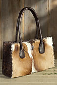 Small Springbok Leather Handbag with Whipstitch Lacing