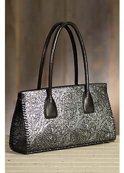 Overland Mesa Tooled Italian Leather Tote Bag