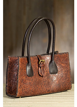 Overland Addario Tooled Italian Leather Handbag