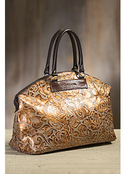 Overland Galena Tooled Italian Leather Crossbody Handbag