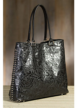 Overland Pecos Tooled Leather Tote Bag