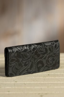 Overland Eden Tooled Leather Clutch Wallet