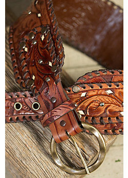 Overland Mission Tooled Leather Belt with Ivory Inlay