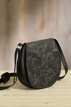 Overland Kingman Tooled Leather Crossbody Handbag
