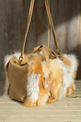 Women's Venus Fox Fur and Suede Travel Bag