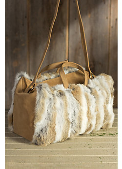 Women's Mercure Rabbit Fur and Suede Slouch Travel Bag