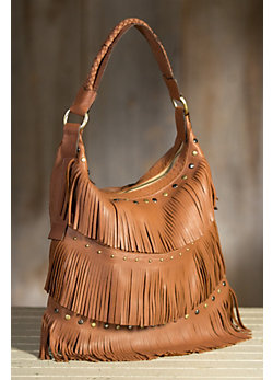 Overland Penelope Italian Leather Fringe Tote Bag