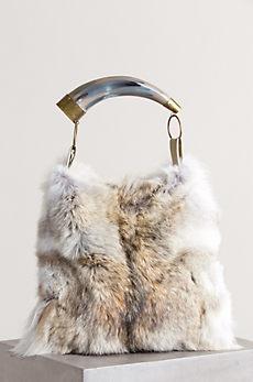 Austin Fur Handbag with Argentine Cow Horn Handle