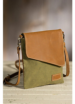 Overland Humboldt Canvas and Leather Crossbody Handbag