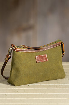 Overland Warren Canvas and Leather Clutch Handbag