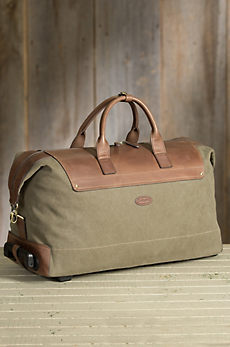 Overland Wayfarer Canvas and Leather Wheeled Duffel Bag
