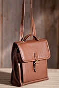 Diplomat Convertible Leather Shoulder Bag and Backpack