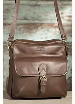 Argent Cowhide Leather Messenger Bag