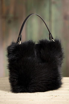 Quito Leather and Beaver Fur Crossbody Handbag