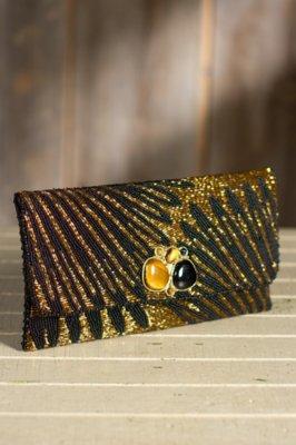 Striking Gold Mary Frances Designer Clutch Handbag
