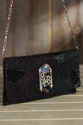 Ebony Onyx Mary Frances Designer Clutch Handbag