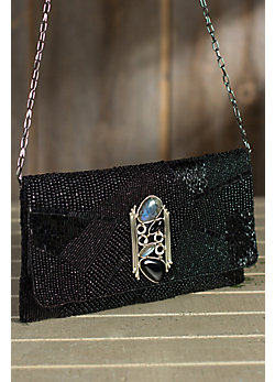 Ebony Onyx Mary Frances Designer Clutch Handbag