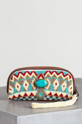 Turquoise Power Mary Frances Designer Wristlet Wallet