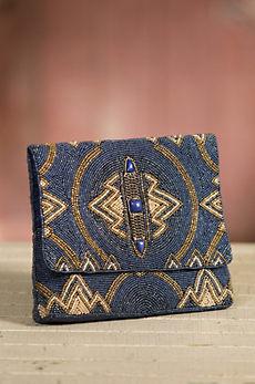 Wild Blue Mary Frances Designer Clutch Handbag