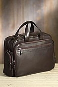 Multi-Zip Leather Laptop Briefcase