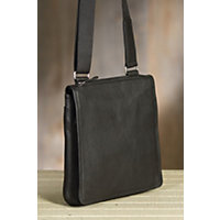 Flat North South Euro Leather Messenger Bag, Black Western & Country