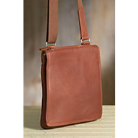 Flat North South Euro Leather Messenger Bag, Brandy Western & Country