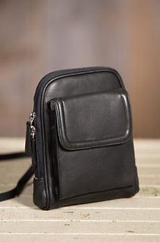 Cashmere Leather Mini Organizer Crossbody Handbag