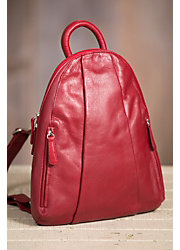 Women's Teardrop Multi Zip Leather Backpack