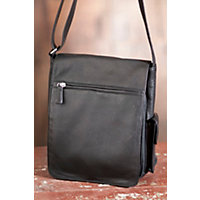 Vertical Cashmere Leather Messenger Bag, Black Western & Country