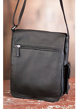 Vertical Cashmere Leather Messenger Bag
