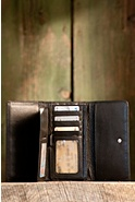 Women's Leather Clutch Wallet with Removable Checkbook