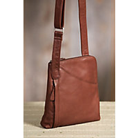 Women's Makenzie Cashmere Leather Messenger Bag, Brandy Western & Country