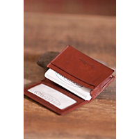 Gusseted Leather Card Case, Brandy Western & Country