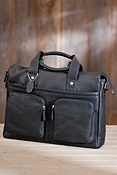 Soft Zip-Top Leather Briefcase