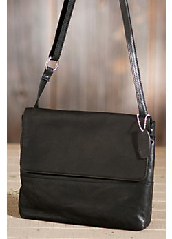 Women's Farrah Flap Zip-Top Leather Handbag